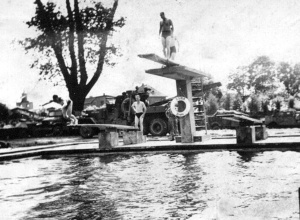 Swimming at pool in Brake, GE. Occupation time after V-E Day